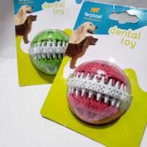 Juguete dental pelota tres capas, colores surtidos.